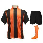 Uniforme Esportivo com 12 Camisas modelo Milan Preto/Laranja + 12 Calções modelo Madrid Preto + 12 Pares de meiões Laranja