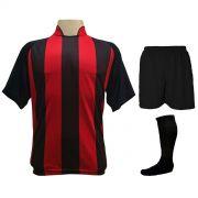 Uniforme Esportivo com 12 Camisas modelo Milan Preto/Vermelho + 12 Calções modelo Madrid Preto + 12 Pares de meiões Preto