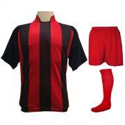 Uniforme Esportivo com 12 Camisas modelo Milan Preto/Vermelho + 12 Calções modelo Madrid Vermelho + 12 Pares de meiões Vermelho