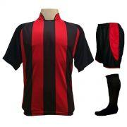Uniforme Esportivo com 12 Camisas modelo Milan Preto/Vermelho + 12 Calções modelo Copa Preto/Vermelho + 12 Pares de meiões Preto