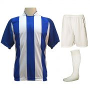 Uniforme Esportivo com 12 Camisas modelo Milan Royal/Branco + 12 Calções modelo Madrid Branco + 12 Pares de meiões Branco