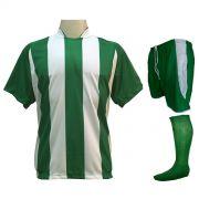Uniforme Esportivo com 12 Camisas modelo Milan Verde/Branco + 12 Calções modelo Copa Verde/Branco + 12 Pares de meiões Verde