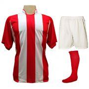 Uniforme Esportivo com 12 Camisas modelo Milan Vermelho/Branco + 12 Calções modelo Madrid Branco + 12 Pares de meiões Vermelho