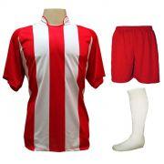 Uniforme Esportivo com 12 Camisas modelo Milan Vermelho/Branco + 12 Calções modelo Madrid Vermelho + 12 Pares de meiões Branco