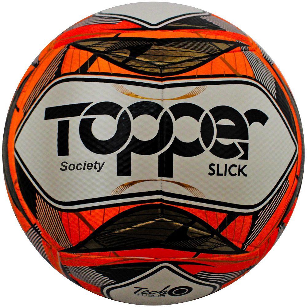 Bola de Futebol Society Slick Branco/Laranja 2019 - Topper