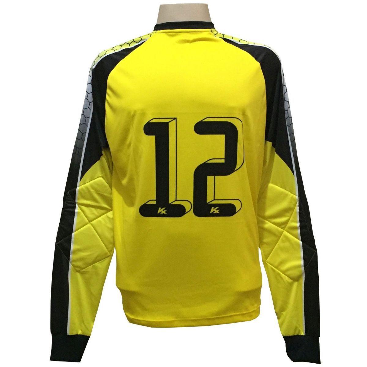 Camisa de Goleiro Profissional modelo Paraí Tam G Nº 12 Amarelo/Preto - Kanxa