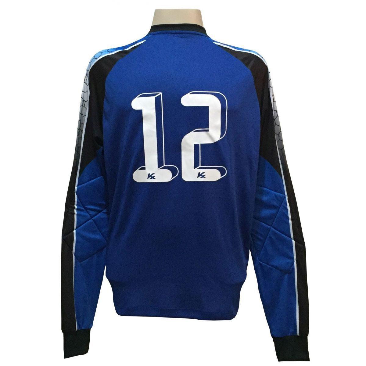 Camisa de Goleiro Profissional modelo Paraí Tam G Nº 12 Azul Royal/Preto - Kanxa