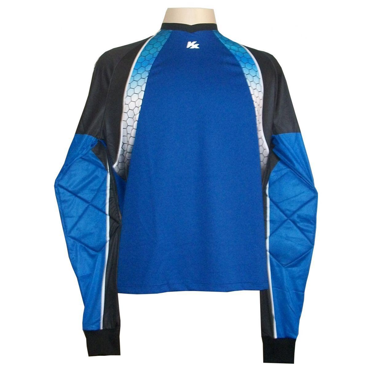 Camisa de Goleiro Profissional modelo Paraí Tam G Nº 1 Azul Royal/Preto - Kanxa