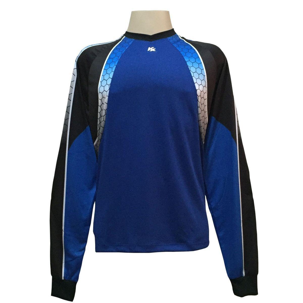 Camisa de Goleiro Profissional modelo Paraí Tam GG Nº 12 Azul Royal/Preto - Kanxa