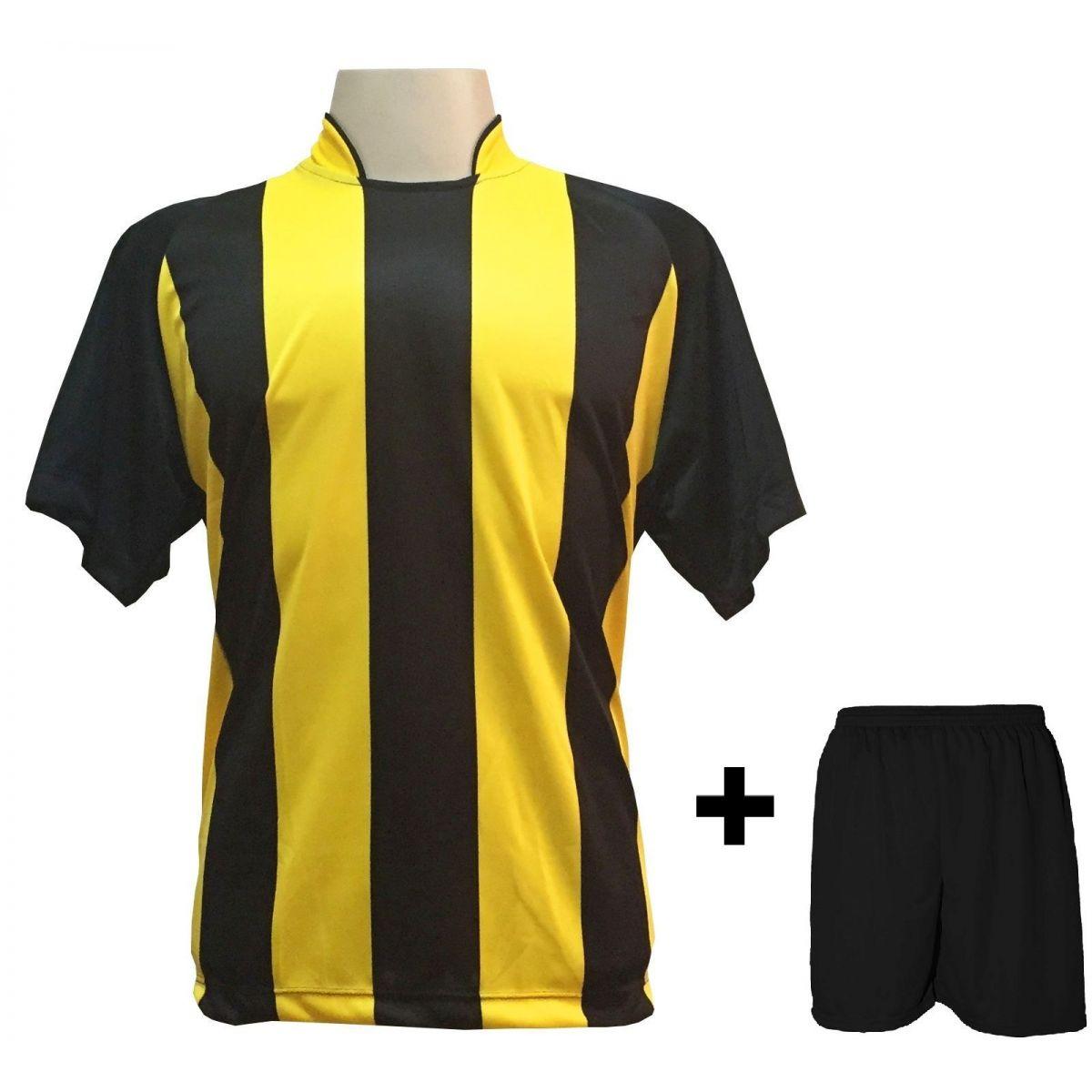 Uniforme Esportivo com 12 Camisas modelo Milan Preto/Amarelo + 12 Calções modelo Madrid Preto