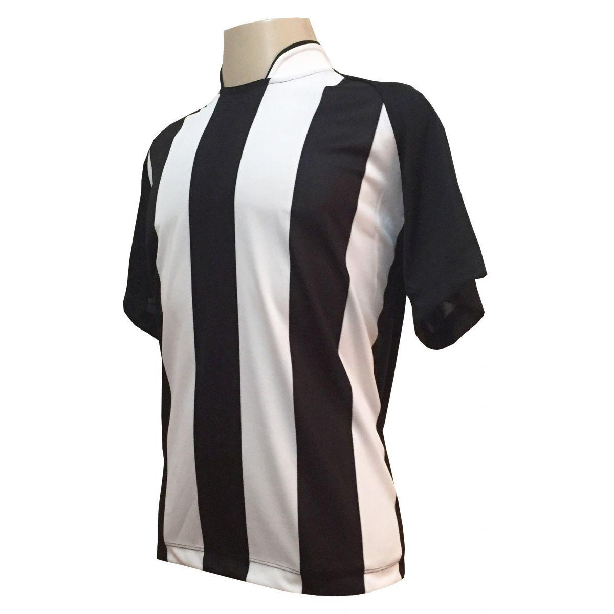 Uniforme Esportivo com 12 Camisas modelo Milan Preto/Branco + 12 Calções modelo Madrid Branco