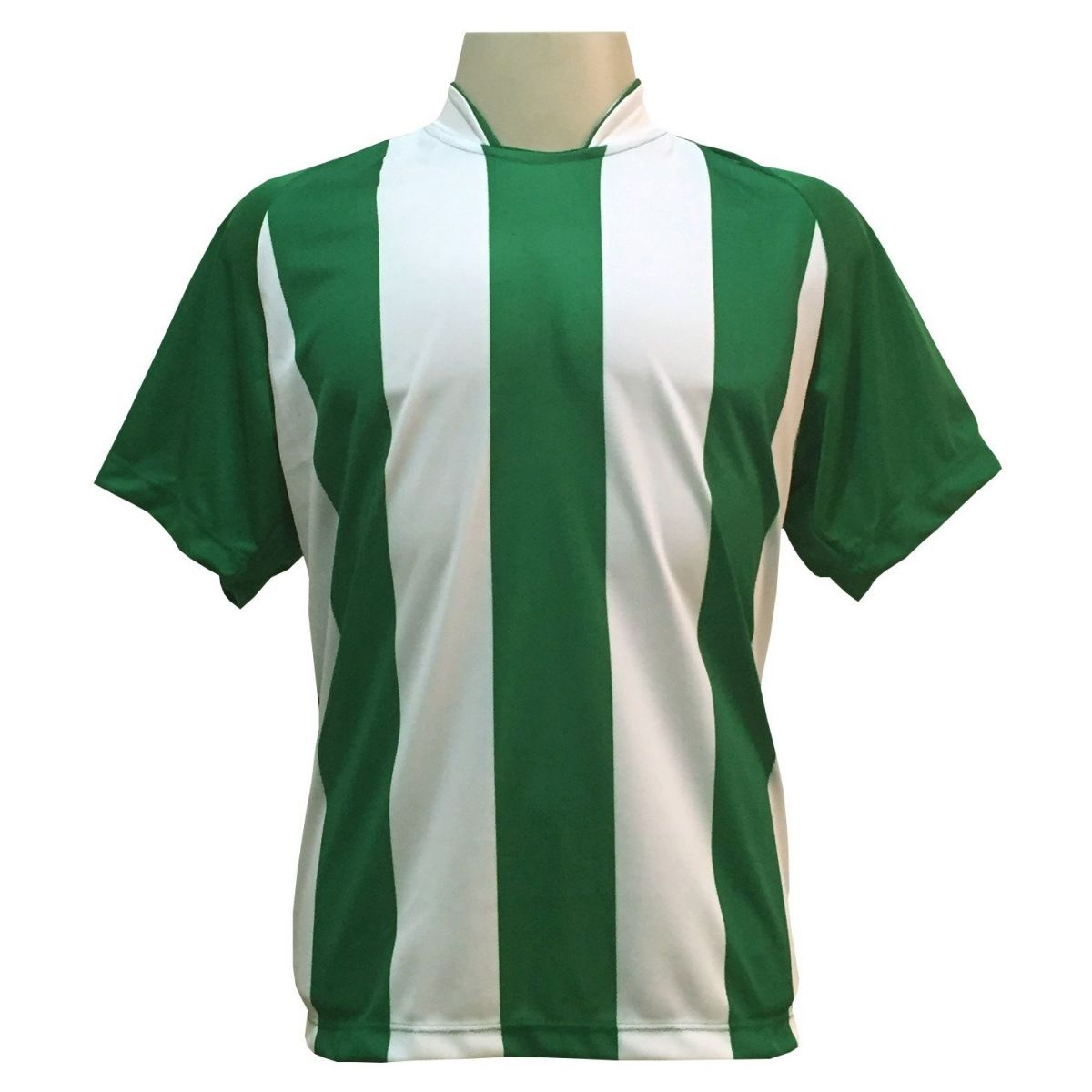 Uniforme Esportivo com 12 Camisas modelo Milan Verde/Branco + 12 Calções modelo Madrid Verde