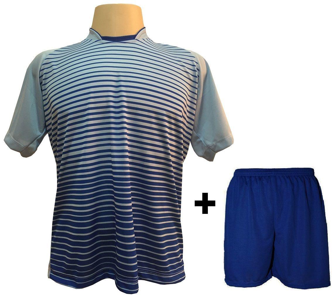 Uniforme Esportivo com 12 Camisas modelo City Celeste/Royal + 12 Calções modelo Madrid Royal