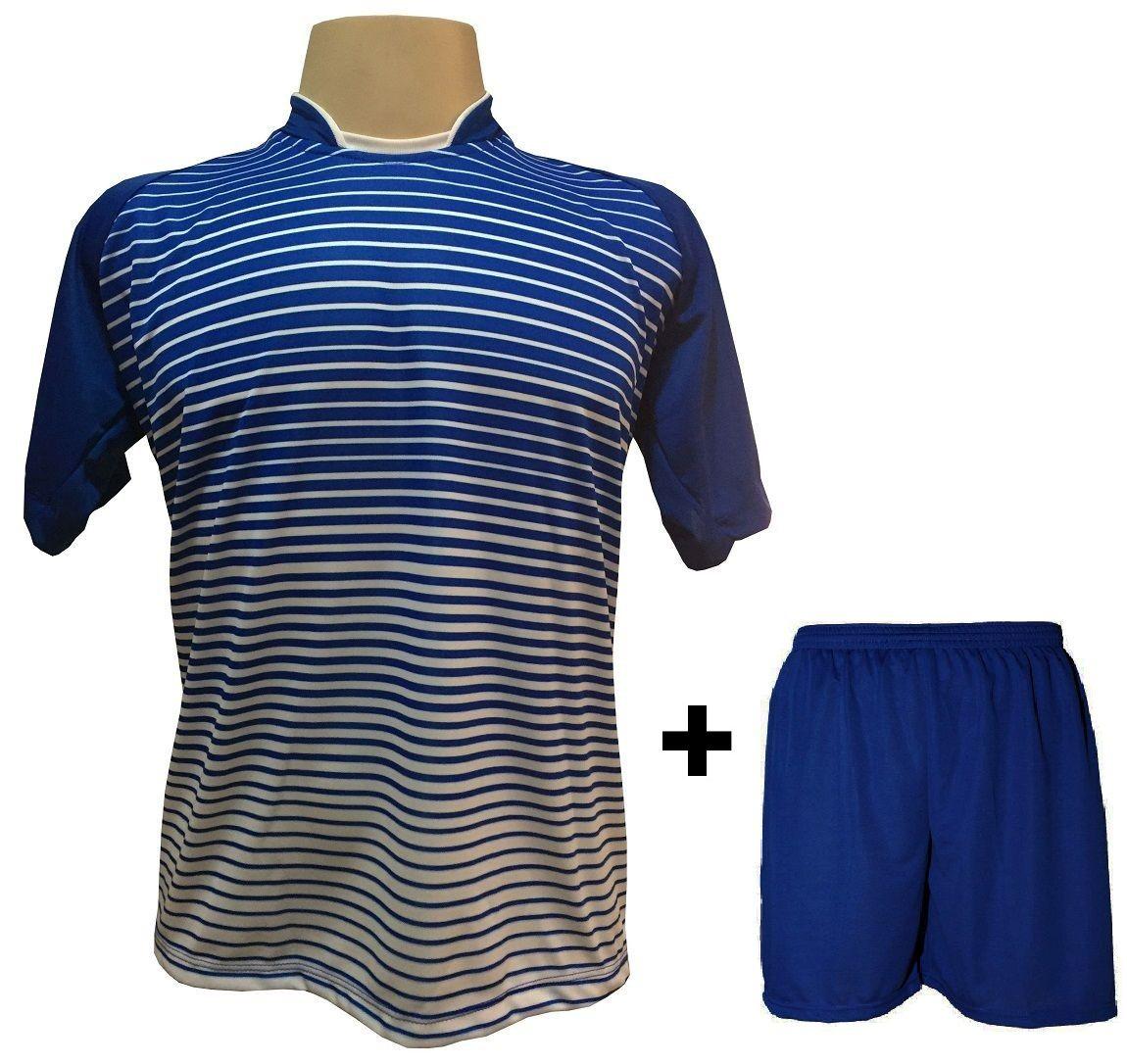 Uniforme Esportivo com 12 Camisas modelo City Royal/Branco + 12 Calções modelo Madrid Royal