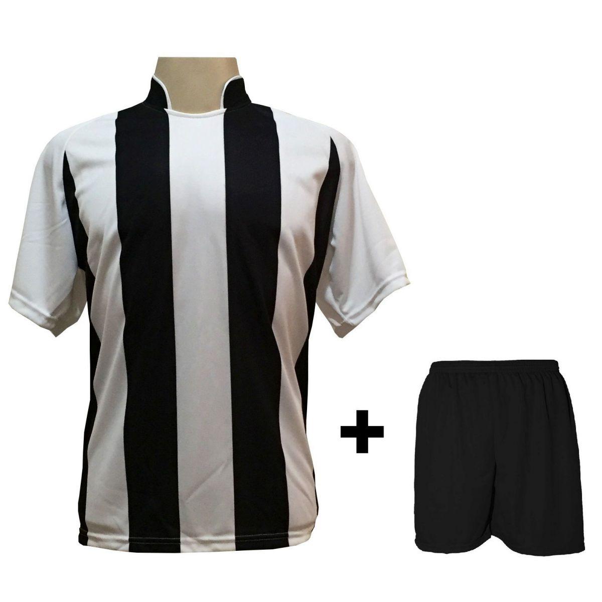 Uniforme Esportivo com 12 Camisas modelo Milan Branco/Preto + 12 Calções modelo Madrid Preto