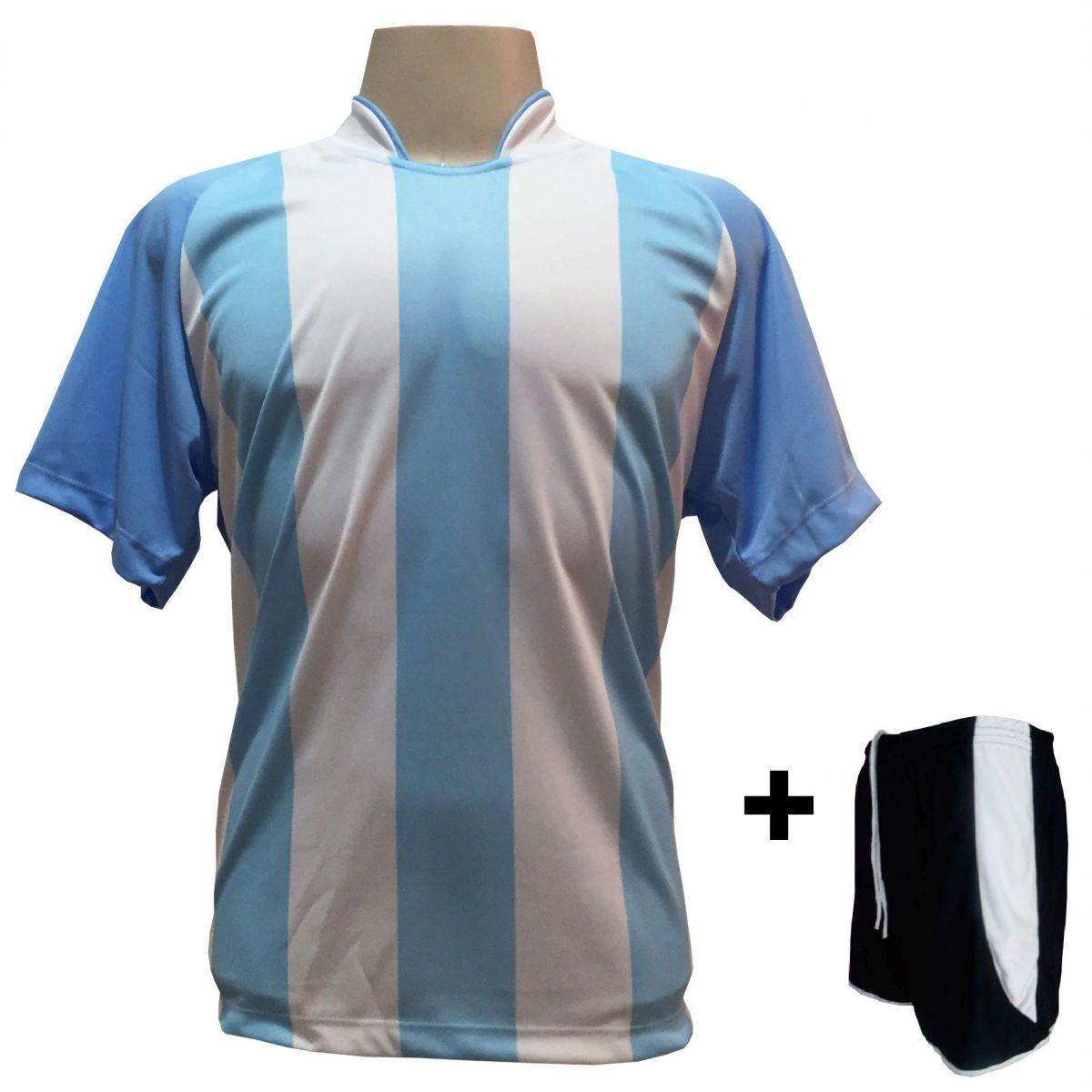Uniforme Esportivo com 12 Camisas modelo Milan Celeste/Branco + 12 Calções modelo Copa Preto/Branco
