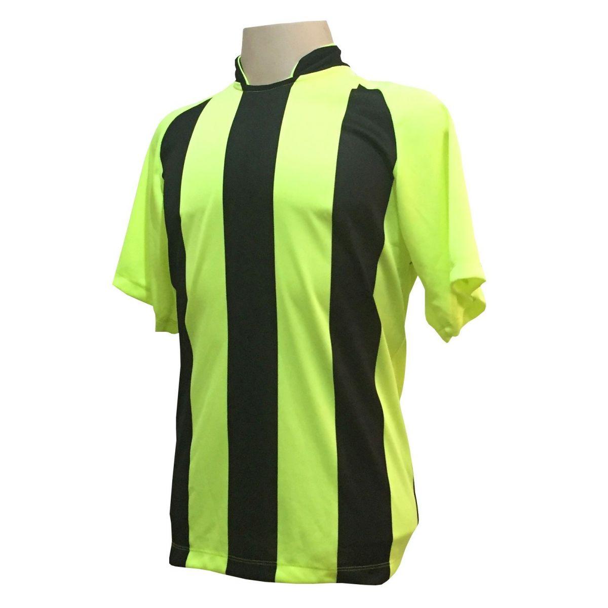 Uniforme Esportivo com 12 Camisas modelo Milan Limão/Preto + 12 Calções modelo Madrid Preto