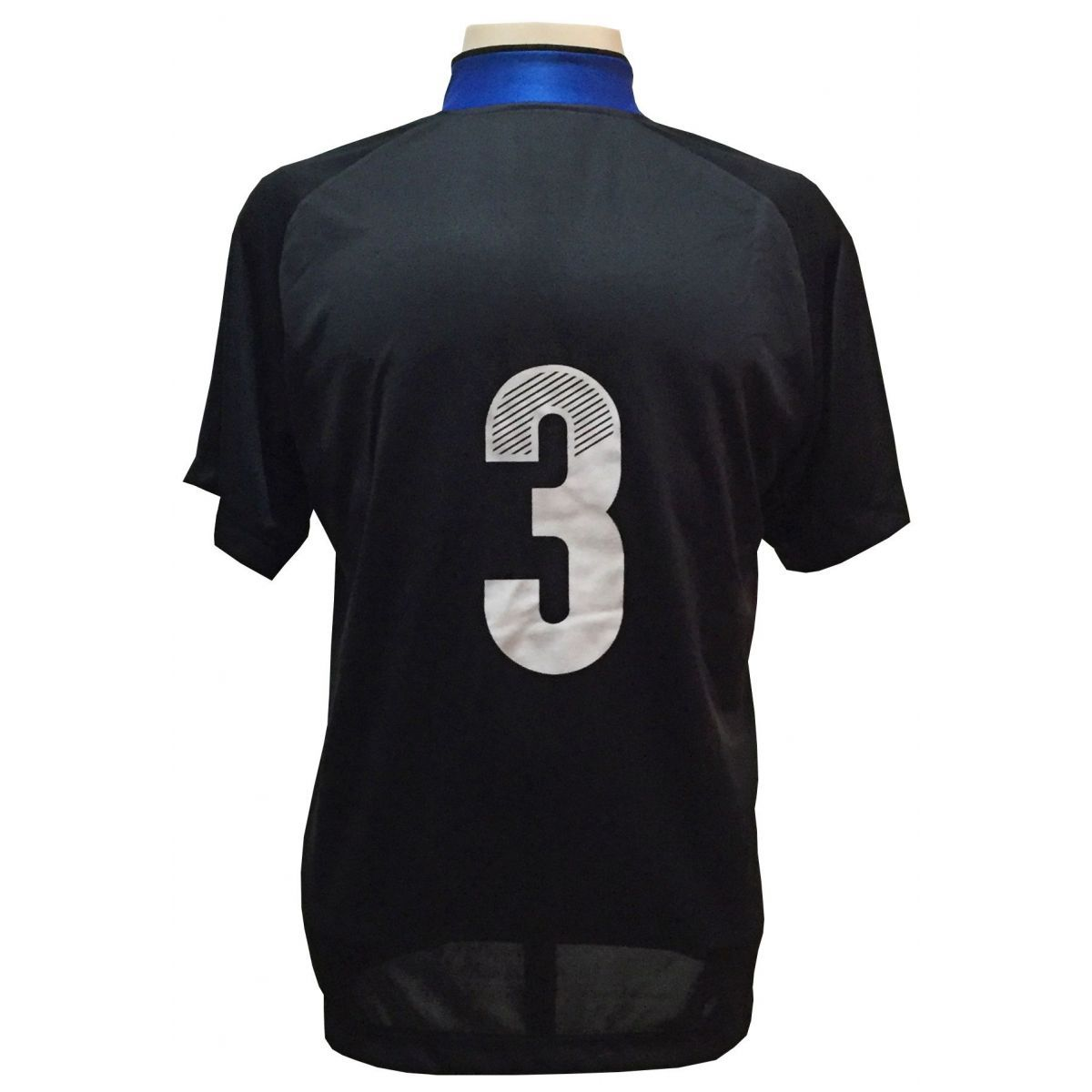 Jogo de Camisa com 12 unidades modelo Milan Preto/Royal + 1 Camisa de Goleiro