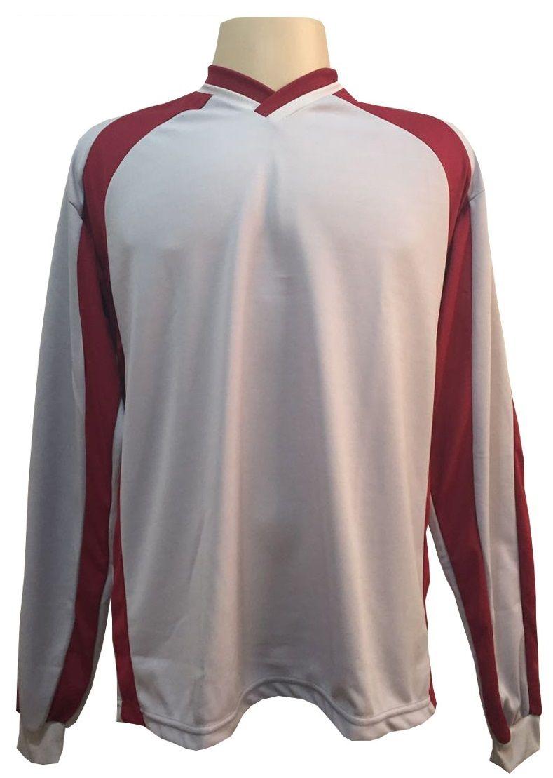 Jogo de Camisa com 12 unidades modelo Milan Vermelho/Branco + 1 Camisa de Goleiro