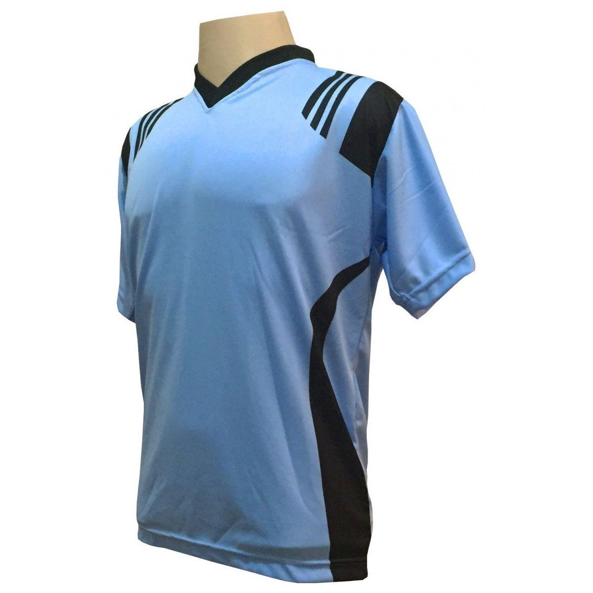 Uniforme Esportivo com 12 Camisas modelo Roma Celeste/Preto + 12 Calções modelo Madrid Preto