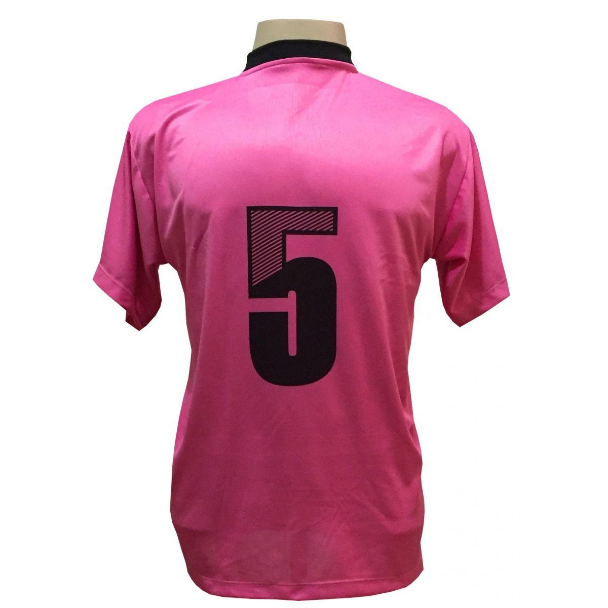 Jogo de Camisa com 12 unidades modelo Roma Pink/Preto  - ESTAÇÃO DO ESPORTE
