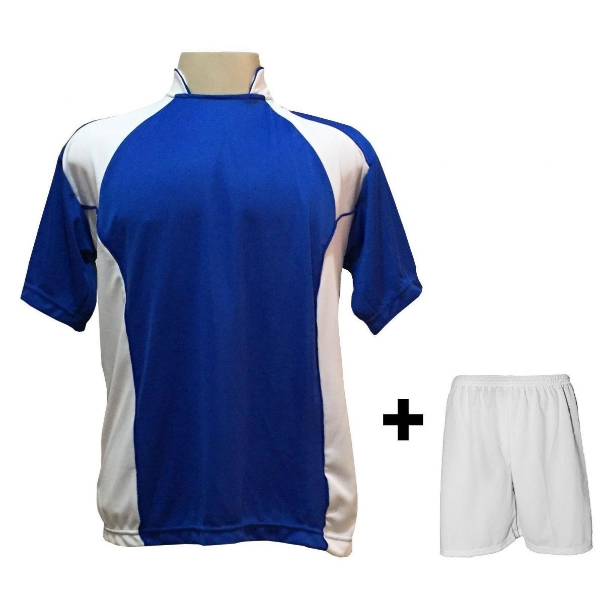 Uniforme Esportivo com 14 Camisas modelo Suécia Royal/Branco + 14 Calções modelo Madrid Branco + Brindes