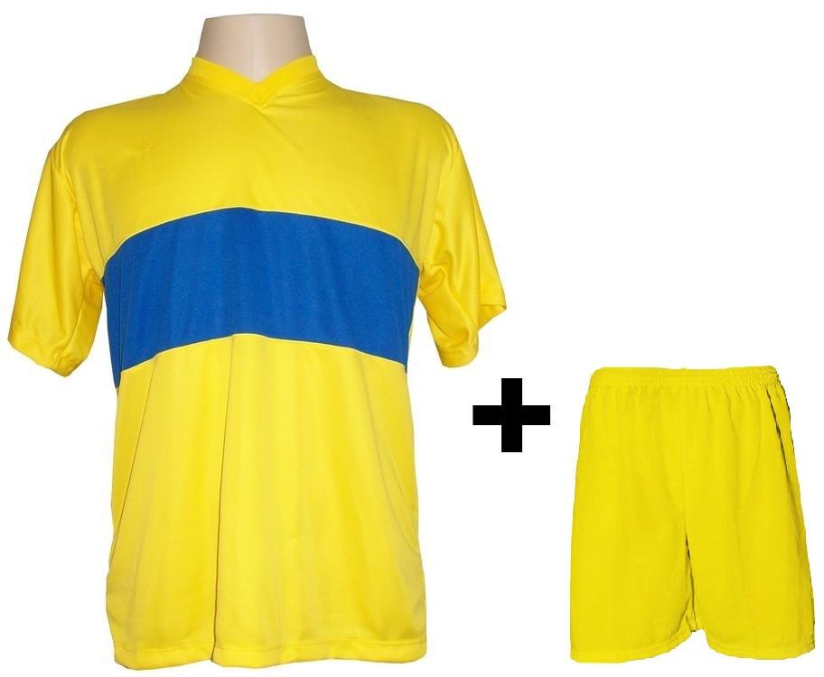 Uniforme Esportivo com 14 Camisas modelo Boca Juniors Amarelo/Royal + 14 Calções modelo Madrid Amarelo