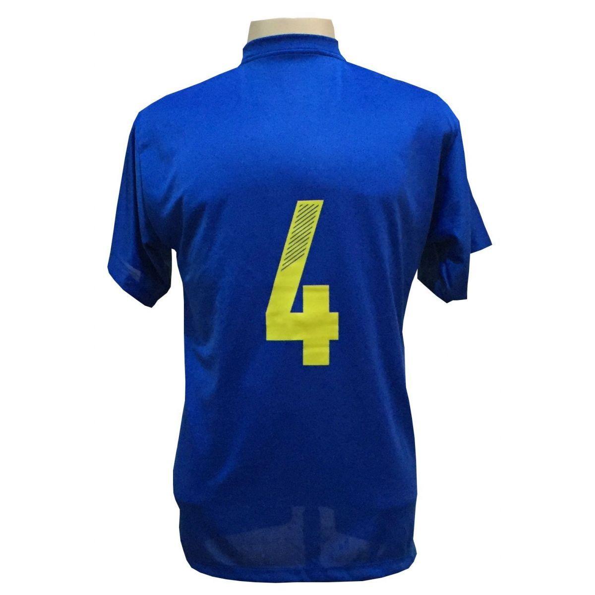Jogo de Camisa com 14 unidades modelo Boca Juniors Royal/Amarelo + 1 Camisa de Goleiro