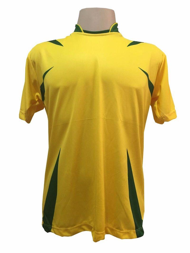 Jogo de Camisa com 14 unidades modelo Palermo Amarelo/Verde + 1 Camisa de Goleiro