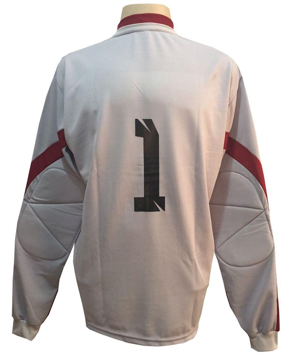 Jogo de Camisa com 14 unidades modelo Palermo Branco/Vermelho + 1 Camisa de Goleiro