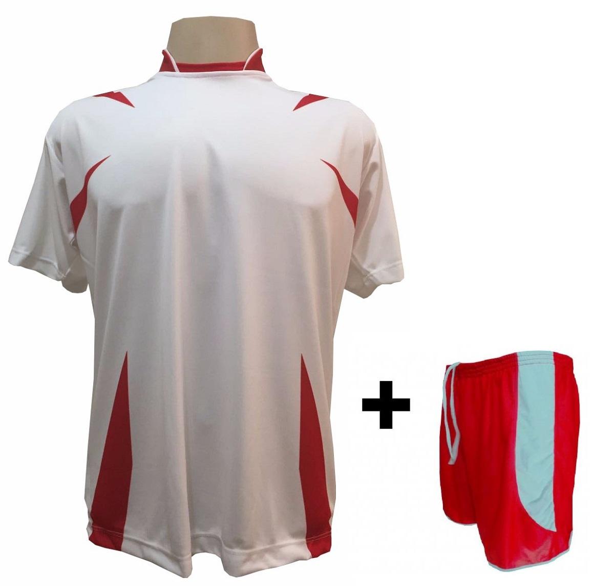 330df0f2f2 Uniforme Esportivo com 14 Camisas modelo Palermo Branco Vermelho + 14  Calções modelo Copa Vermelho ...