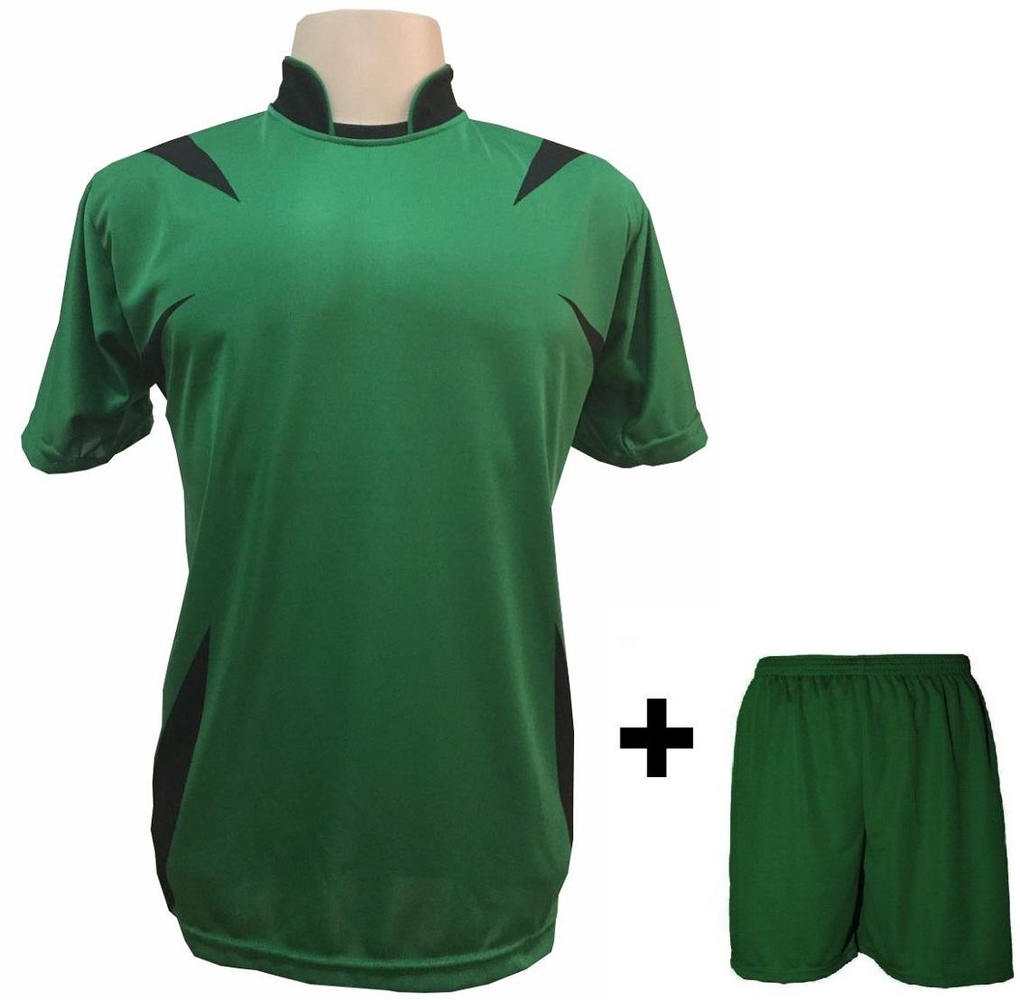 Uniforme Esportivo com 14 Camisas modelo Palermo Verde/Preto + 14 Calções modelo Madrid Verde