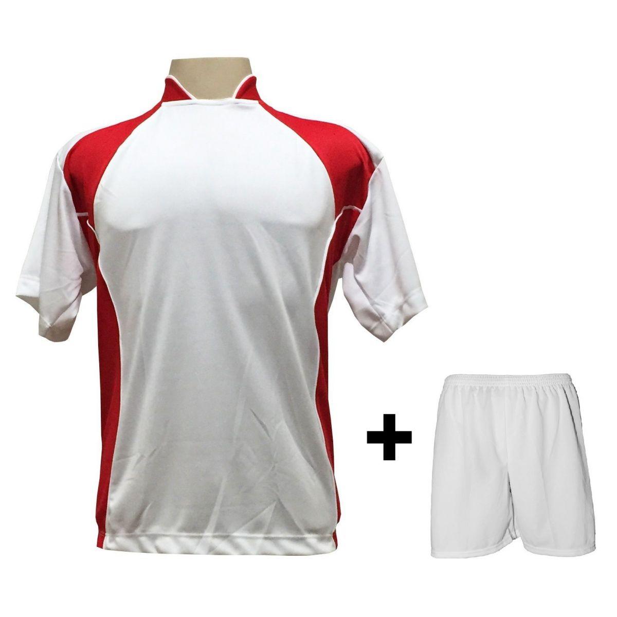 Uniforme Esportivo com 14 Camisas modelo Suécia Branco/Vermelho + 14 Calções modelo Madrid Branco
