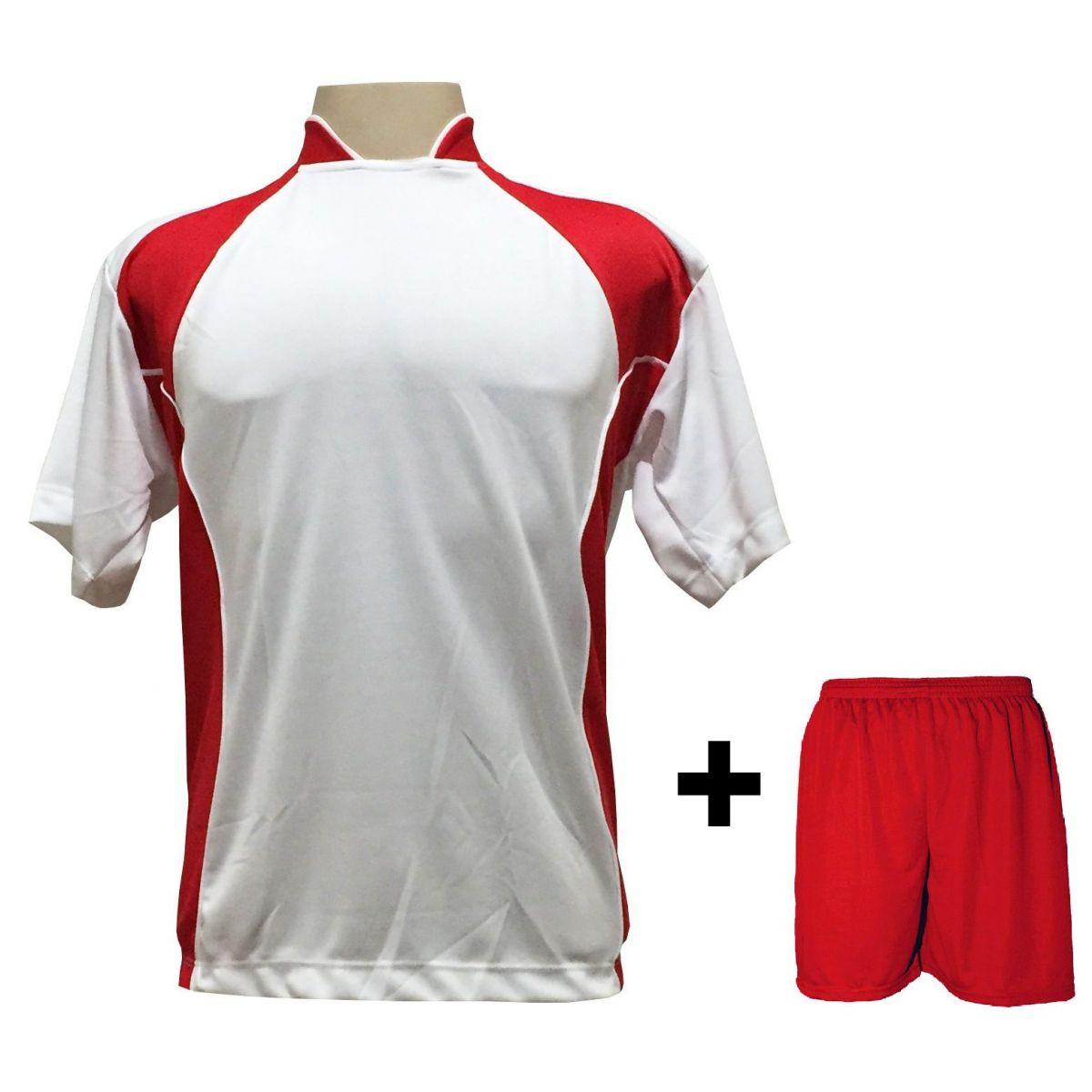Uniforme Esportivo com 14 Camisas modelo Suécia Branco/Vermelho + 14 Calções modelo Madrid Vermelho