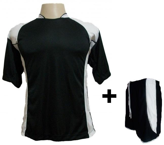 Uniforme Esportivo com 14 Camisas modelo Suécia Preto/Branco + 14 Calções modelo Copa Preto/Branco