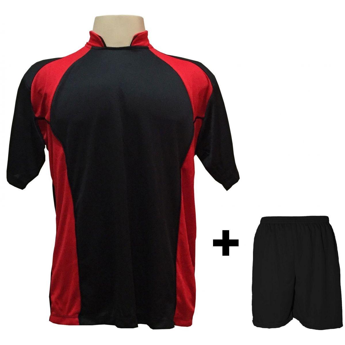 Uniforme Esportivo com 14 Camisas modelo Suécia Preto/Vermelho + 14 Calções modelo Madrid Preto