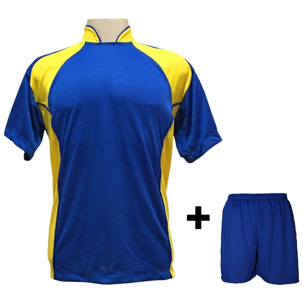 Uniforme Esportivo com 14 Camisas modelo Suécia Royal/Amarelo + 14 Calções modelo Madrid Royal