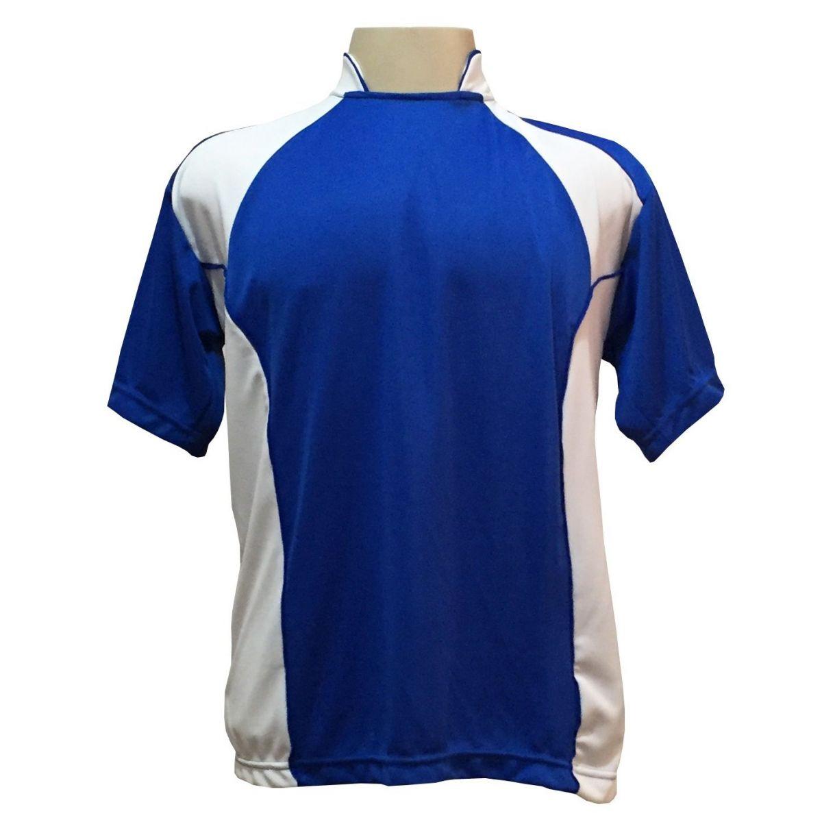 Uniforme Esportivo com 14 Camisas modelo Suécia Royal/Branco + 14 Calções modelo Copa Royal/Branco