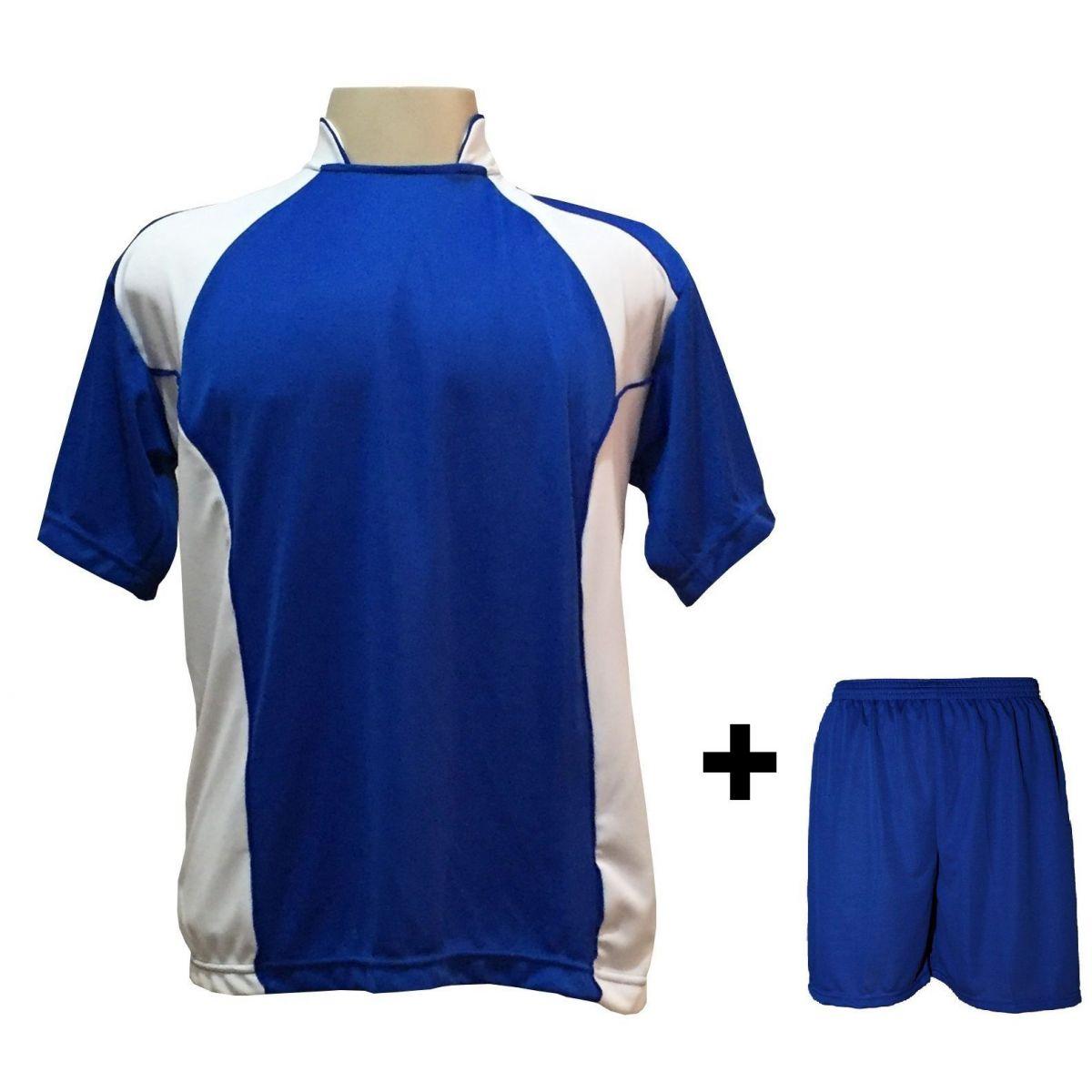 Uniforme Esportivo com 14 Camisas modelo Suécia Royal/Branco + 14 Calções modelo Madrid Royal