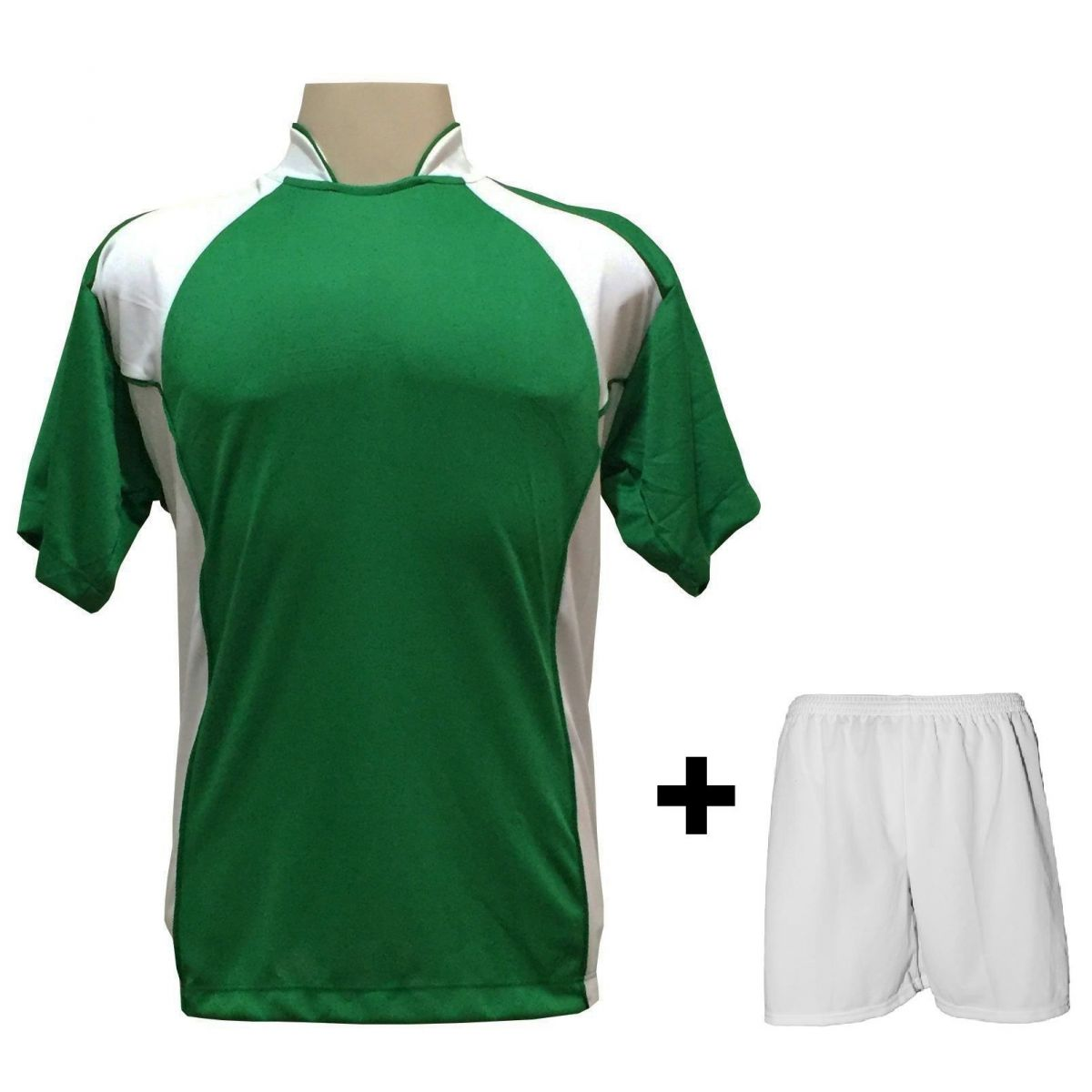 Uniforme Esportivo com 14 Camisas modelo Suécia Verde/Branco + 14 Calções modelo Madrid Branco + Brindes