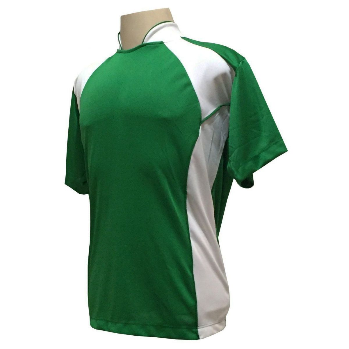 Uniforme Esportivo com 14 Camisas modelo Suécia Verde/Branco + 14 Calções modelo Madrid