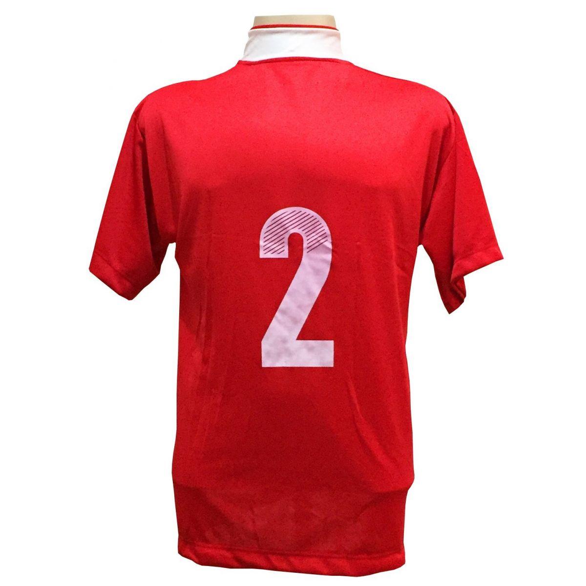 Uniforme Esportivo com 14 Camisas modelo Suécia Vermelho/Branco + 14 Calções modelo Madrid Branco