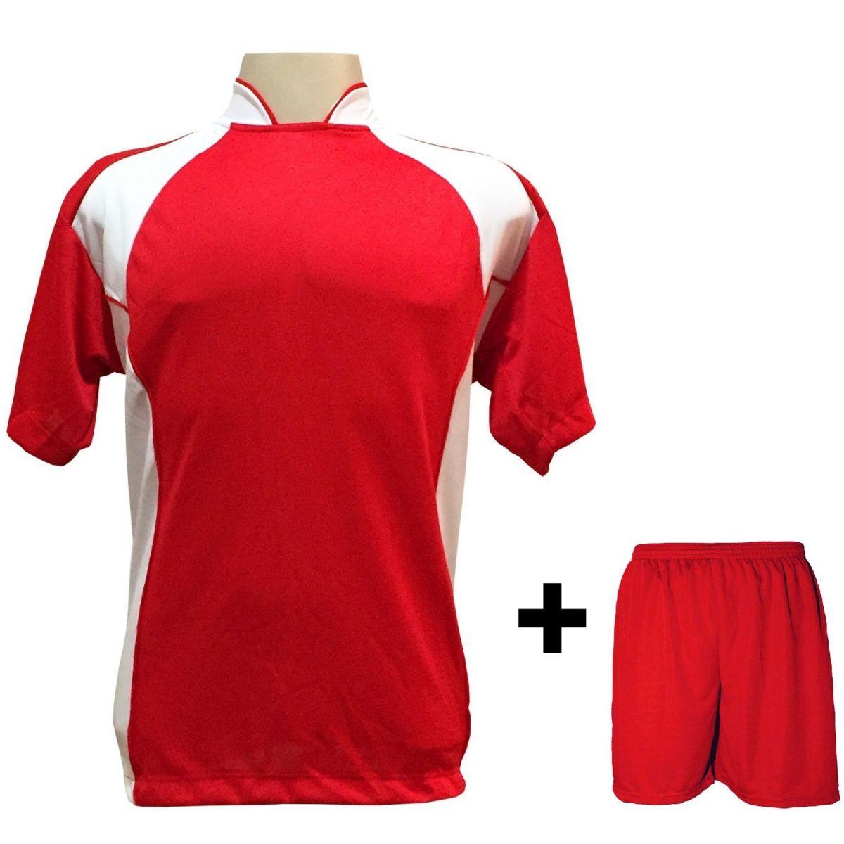 Uniforme Esportivo com 14 Camisas modelo Suécia Vermelho/Branco + 14 Calções modelo Madrid Vermelho