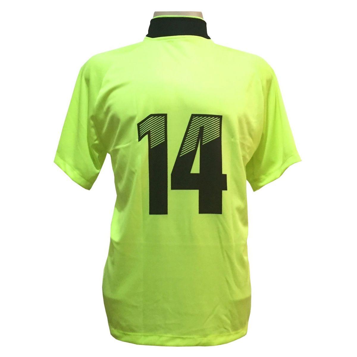 Jogo de Camisa com 18 unidades modelo Milan Limão/Preto  - ESTAÇÃO DO ESPORTE