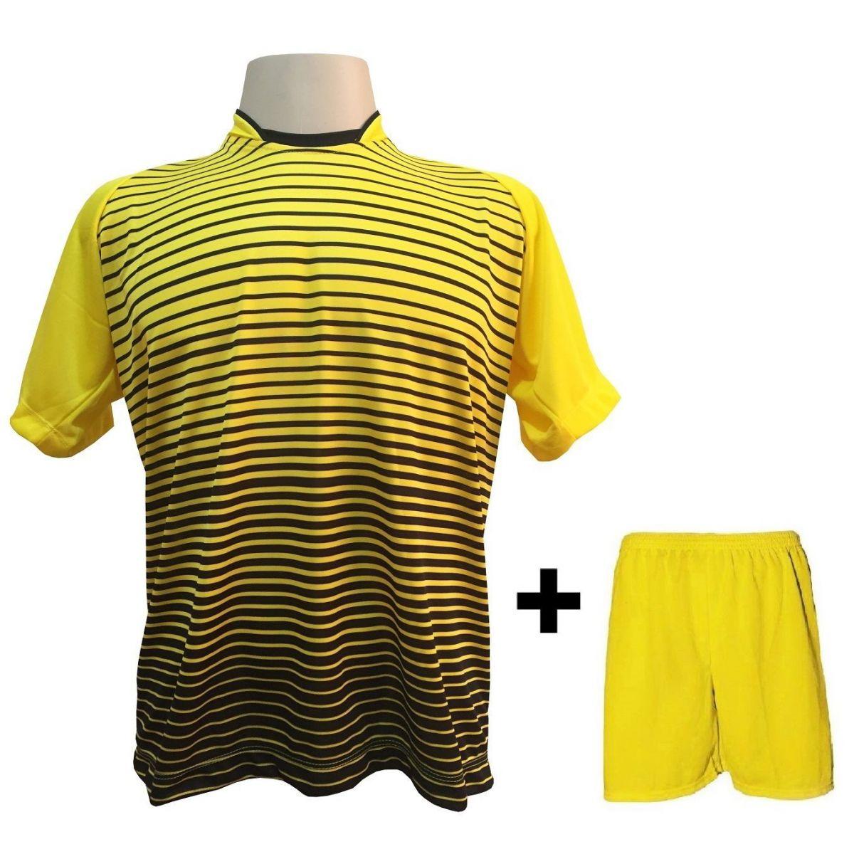 194127f32af55 Uniforme Esportivo com 18 Camisas modelo City Amarelo Preto + 18 Calções  modelo Madrid Amarelo ...