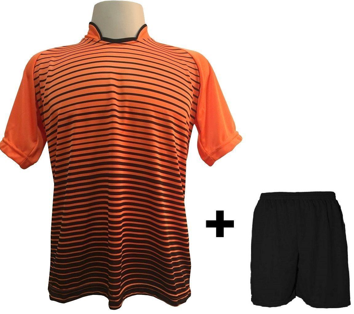 Uniforme Esportivo com 18 Camisas modelo City Laranja/Preto + 18 Calções modelo Madrid Preto