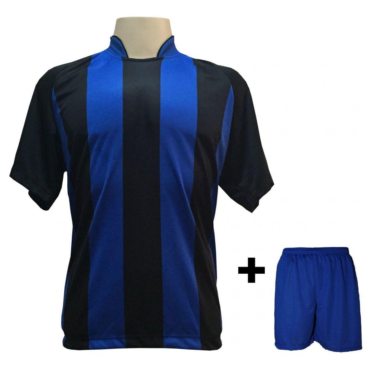 Uniforme Esportivo com 18 Camisas modelo Milan Preto/Royal + 18 Calções modelo Madrid Royal