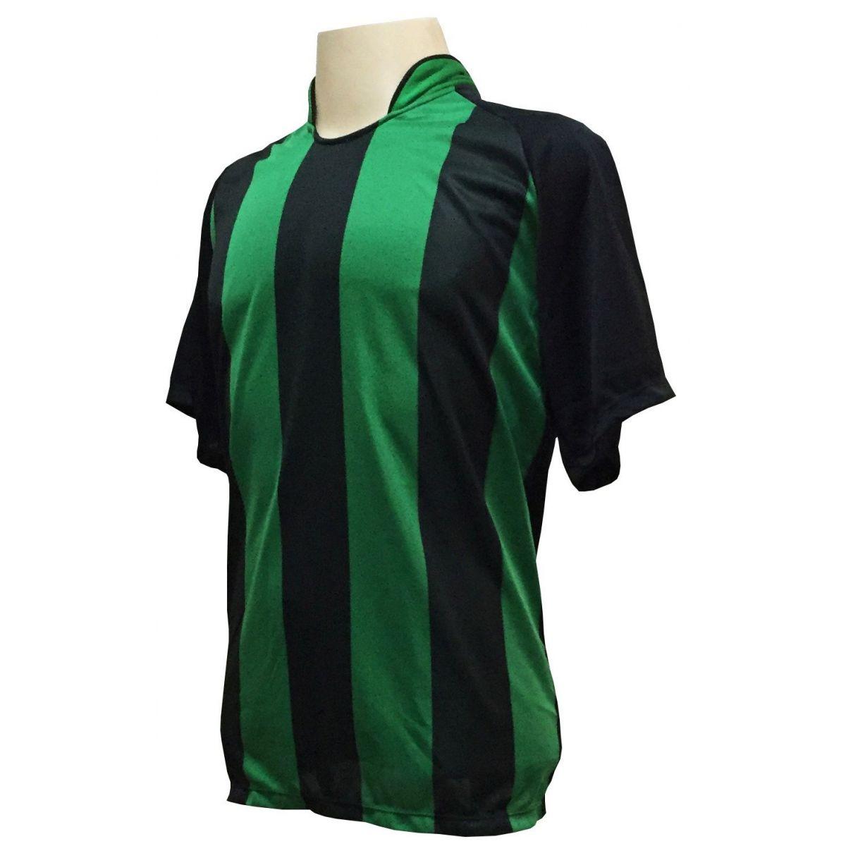 Uniforme Esportivo com 18 Camisas modelo Milan Preto/Verde + 18 Calções modelo Madrid Preto   - ESTAÇÃO DO ESPORTE