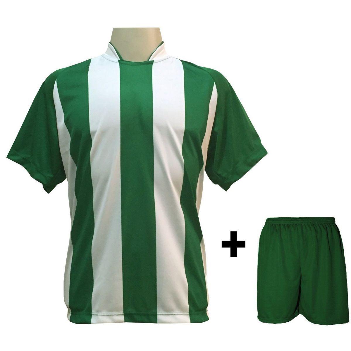 Uniforme Esportivo com 18 Camisas modelo Milan Verde/Branco + 18 Calções modelo Madrid Verde
