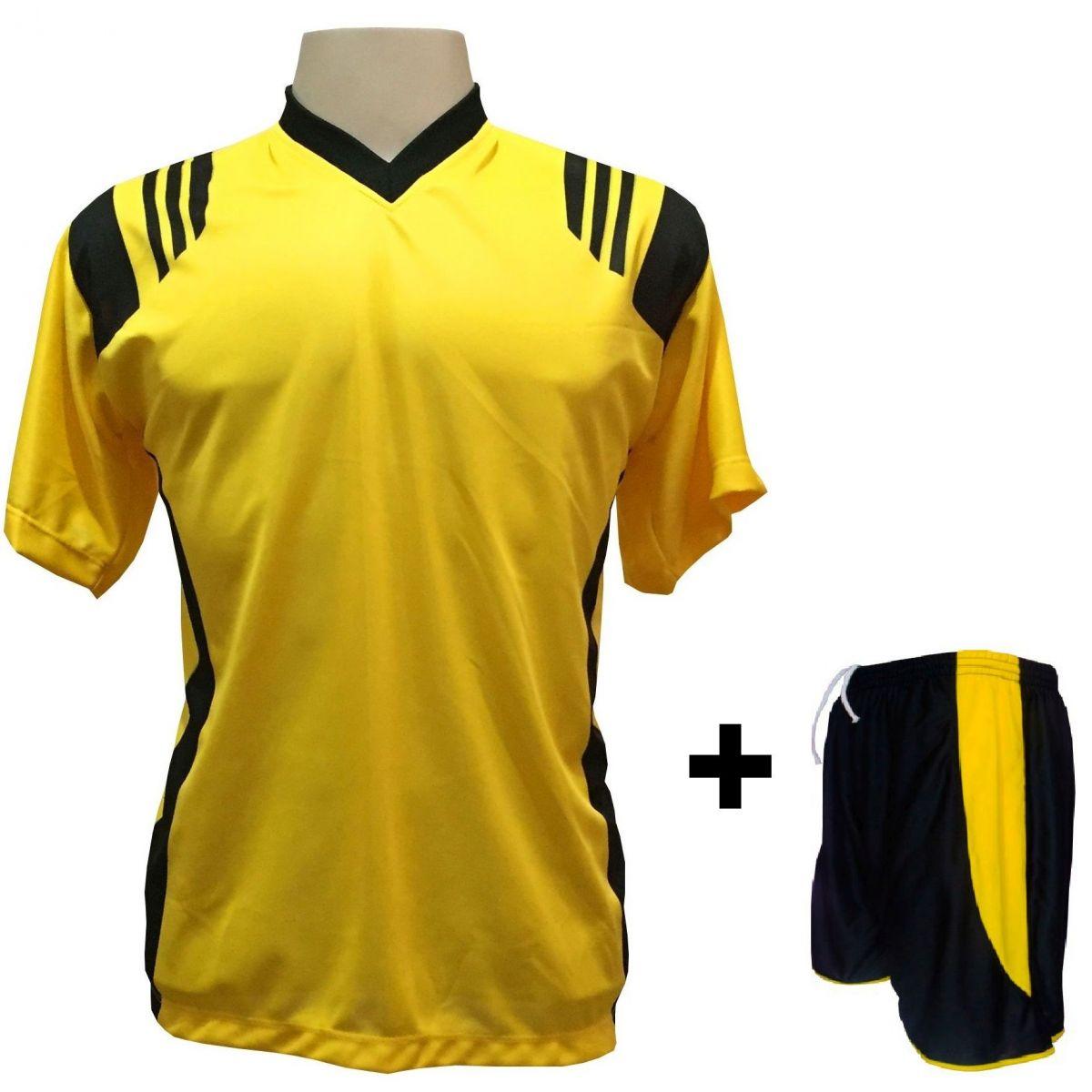 Uniforme Esportivo com 18 Camisas modelo Roma Amarelo/Preto + 18 Calções modelo Copa Preto/Amarelo